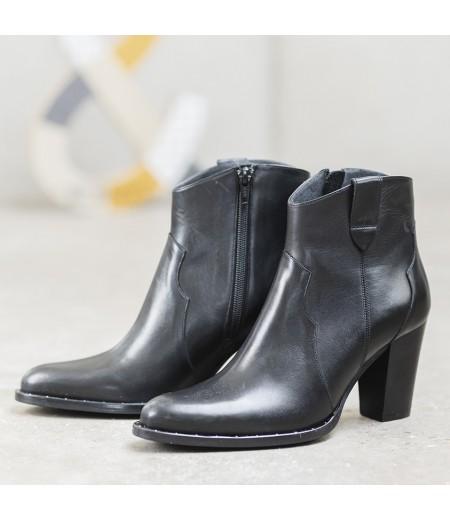 Boots Myla Cuir lisse Noir